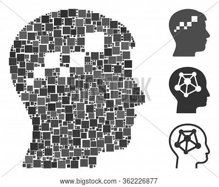 Collage Brain Blockchain Icon Composed Of Square Elements In Different Sizes And Color Hues. Vector