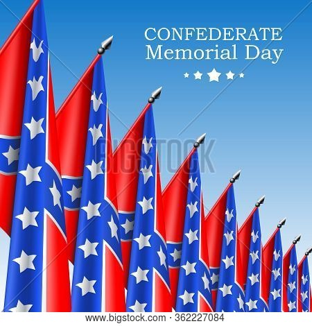 Square Confederate Memorial Day Vector Banner Or Social Network Post Template With Realistic Confede