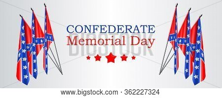 Confederate Memorial Day Vector Banner Or Website Header Layout With Realistic Confederate Flags On