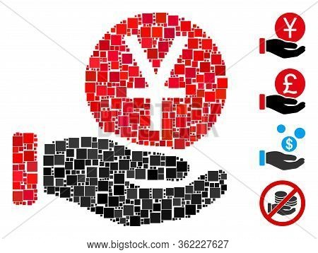 Collage Yuan Coin Payment Icon Designed From Square Elements In Random Sizes And Color Hues. Vector