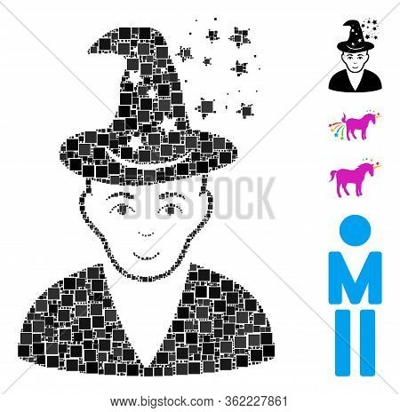 Mosaic Magic Master Icon Organized From Square Elements In Various Sizes And Color Hues. Vector Squa