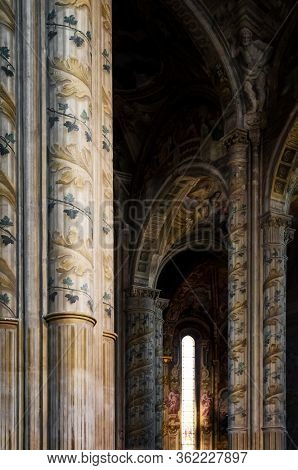 Cathedral Of Asti, Italy. Detail Of The Main Nave With Painted Columns