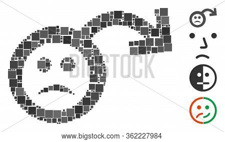 Mosaic Sad Impotence Icon United From Square Elements In Different Sizes And Color Hues. Vector Squa