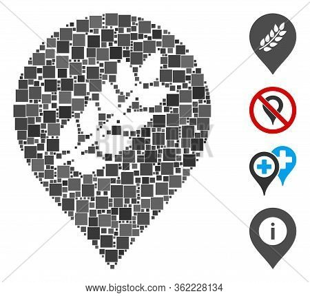 Mosaic Rice Plantation Marker Icon Composed Of Square Items In Different Sizes And Color Hues. Vecto