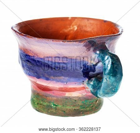 Handmade And Handpainted Cup From Red Clay Isolated On White Background
