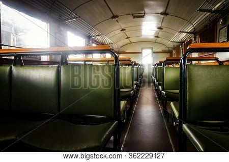 Second Class Compartment Of An Italian Littorina, Old Rail Motor Coach From World War Ii Period