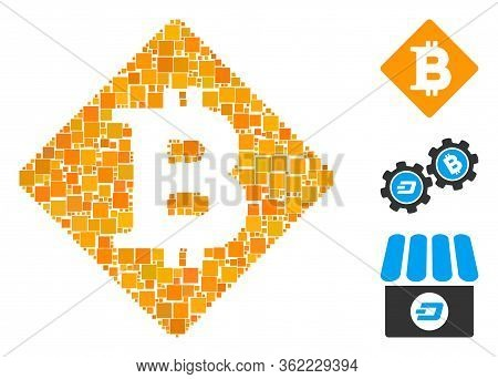 Mosaic Bitcoin Rhombus Icon Constructed From Square Elements In Variable Sizes And Color Hues. Vecto