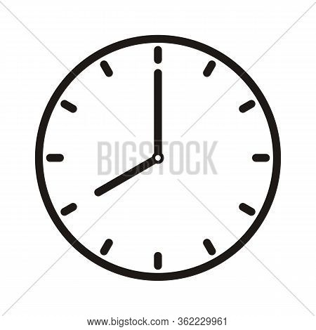 Clock Icon - Simple Vector Flat Clock Icon Solid Pictogram Isolated On White Background
