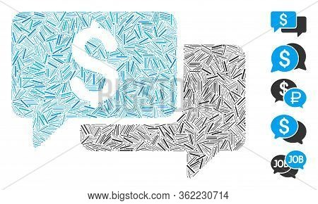 Line Mosaic Price Bids Icon Constructed From Straight Items In Various Sizes And Color Hues. Vector