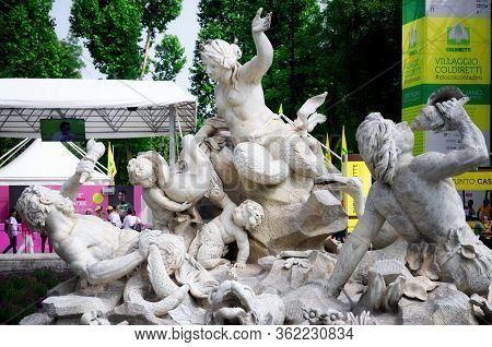 Turin, Italy - June 17, 2018: The Nereids And Tritons Fountain In The Royal Gardens (giardini Reali)
