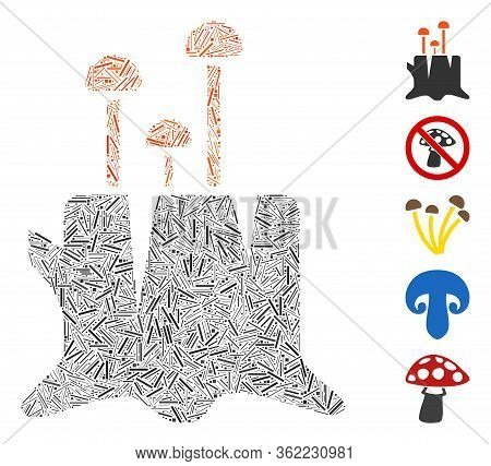 Linear Collage Fungus Stump Icon Constructed From Narrow Items In Random Sizes And Color Hues. Vecto