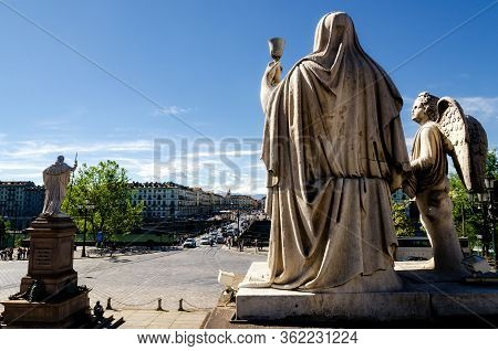 Turin, Italy - May 7, 2017: Church Of The Gran Madre Di Dio In Turin (piedmont, Italy), Detail Of Th