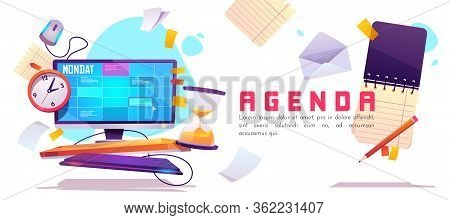 Agenda Banner. Schedule Planner, Appointment Events And Daily Work. Vector Cartoon Illustration With