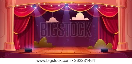 Theater Stage With Red Curtains And Spotlights. Vector Cartoon Illustration Of Theatre Interior With