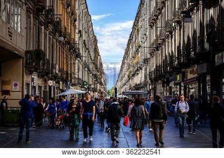 Turin, Italy - May 7, 2017: Via Garibaldi, Main Shopping Street Of Turin (piedmont, Italy) Crowded W