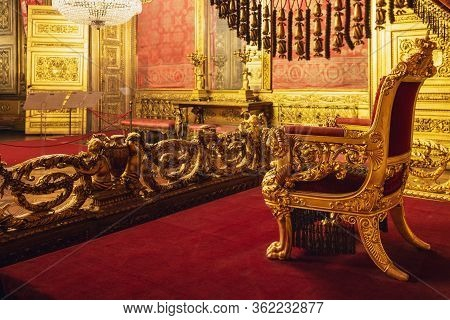 Turin, Italy - March 7, 2019: The Throne Room Of The Royal Palace Of Turin, Italy), National Museum