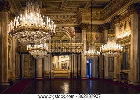 Turin, Italy - March 7, 2019: The Dance Hall Of The Royal Palace Of Turin, Italy), National Museum A