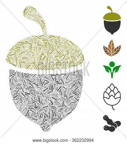 Line Collage Oak Acorn Icon Composed Of Narrow Items In Variable Sizes And Color Hues. Vector Hatch