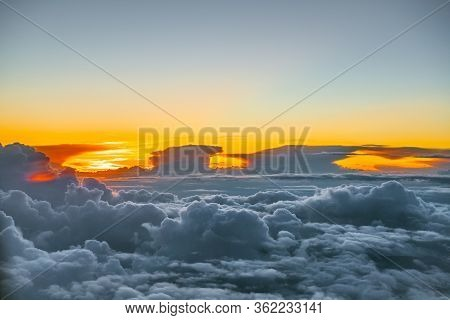 A Heavenly Sky At Sunset High Above Anchorage Alaska.