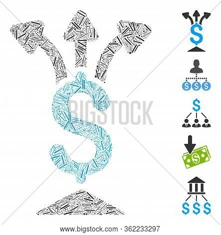 Hatch Collage Share Money Icon Constructed From Thin Items In Different Sizes And Color Hues. Vector