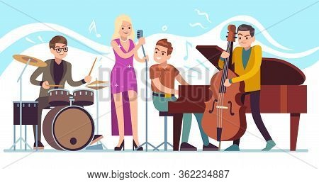 Jazz Musicians. Music Performing, Funky Musicians With Saxophone, Trumpet And Drums, Jazz Festival V