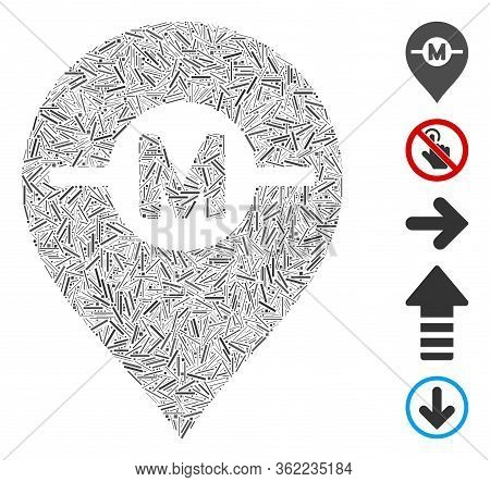 Line Collage Motor Marker Icon Composed Of Narrow Items In Various Sizes And Color Hues. Vector Line