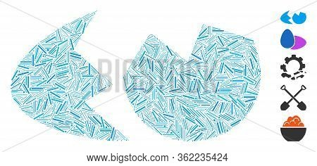Hatch Mosaic Eggshell Icon Organized From Narrow Elements In Various Sizes And Color Hues. Vector Ha