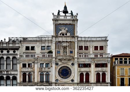 Saint Mark's Clock In Venice (italy), On The Clocktower Of Piazza San Marco