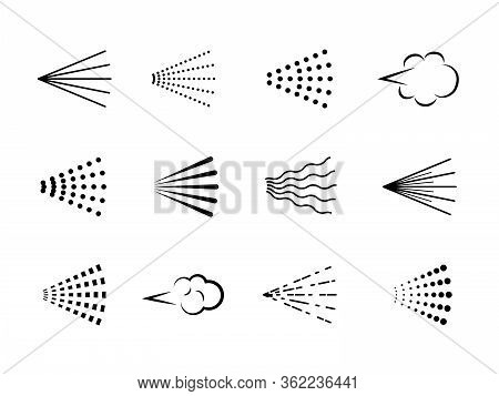 Spray Icons. Scatter Gas Black Silhouette, Nozzle Deodorant Cloud. Clean Water Symbol Drop, Hairspra