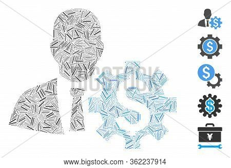 Line Collage Banker Options Icon Composed Of Thin Items In Various Sizes And Color Hues. Vector Line