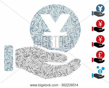 Hatch Mosaic Yuan Coin Payment Hand Icon United From Thin Elements In Different Sizes And Color Hues