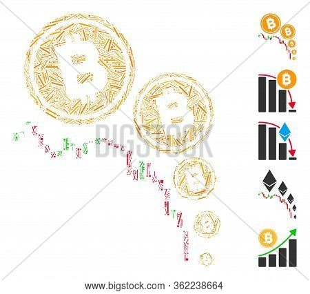 Linear Mosaic Bitcoin Deflation Chart Icon Organized From Straight Elements In Random Sizes And Colo