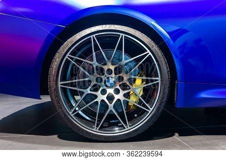 Bmw M4 Wheel, Michelin Tire, Yellow Brake Support . Bmw Welt, Munich, Germany, March 2020