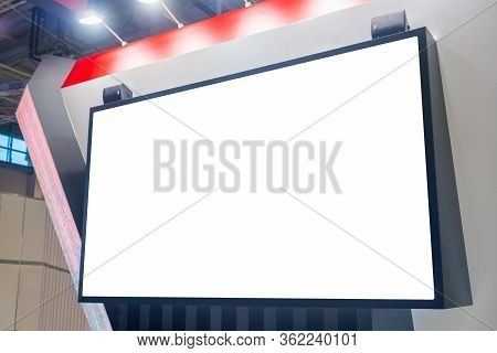 Mockup Image: Blank Large Interactive White Wall Display At Modern Technology Exhibition, Museum Wit