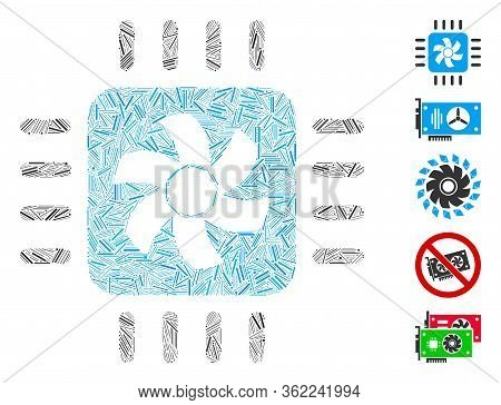 Hatch Mosaic Cpu Cooler Icon United From Straight Items In Various Sizes And Color Hues. Vector Hatc