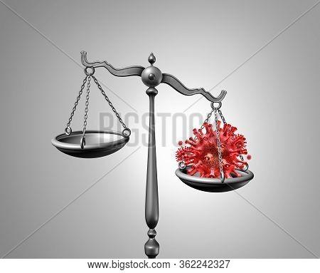 Pandemic Law Or Coronavirus Quarantine Outbreak Legislation And Health Care Justice Concept For Covi
