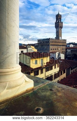 View Of The Town Center Of Florence (tuscany, Italy) With The Tower Of Palazzo Vecchio (the Old Pala