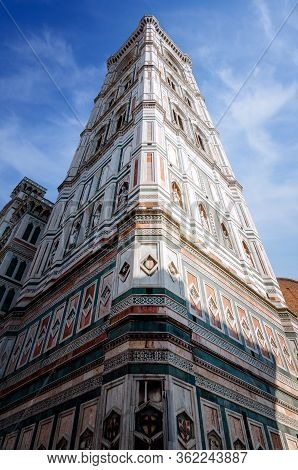 Detail Of The Famous Giotto's Campanile, Bell Tower Of The Basilica Of Santa Maria Del Fiore (saint
