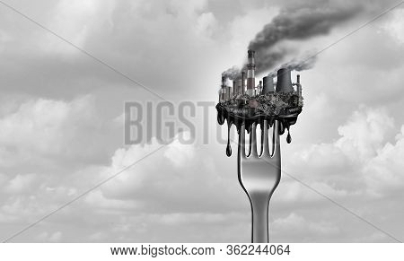 Pollution And Food And Toxic Pollutants In Nutrition As Eating A Contaminated Meal As A Fork With In