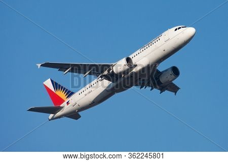 Hong Kong / China - December 1, 2013: Philippines Airlines Airbus A320 Rp-c8614 Passenger Plane Depa