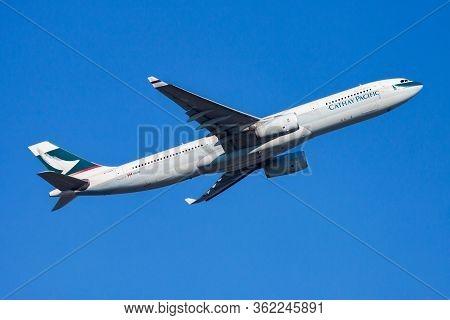 Hong Kong / China - December 1, 2013: Cathay Pacific Airways Airbus A330-300 B-lah Passenger Plane D