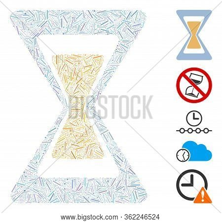 Hatch Collage Sand Clock Icon Designed From Straight Items In Different Sizes And Color Hues. Vector