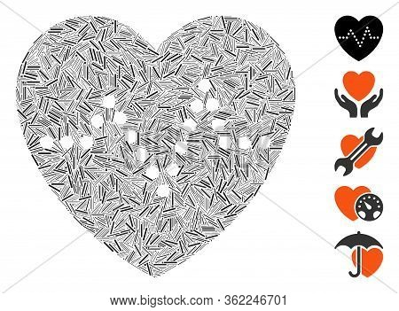 Line Collage Heart Pulse Icon Designed From Narrow Items In Different Sizes And Color Hues. Vector L