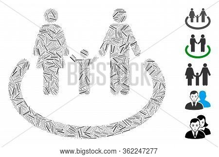 Line Collage Family Area Icon Constructed From Narrow Items In Random Sizes And Color Hues. Vector H