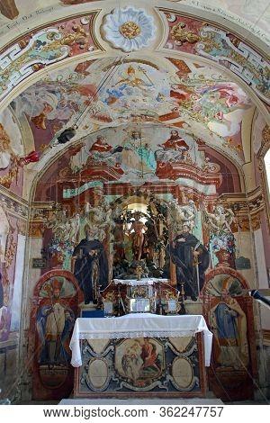 GORICA LEPOGLAVSKA, CROATIA - OCTOBER 08, 2016: The main altar in the Chapel of Saint John the Baptist in Gorica Lepoglavska, Croatia