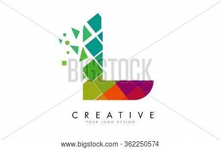 Letter L Design With Rainbow Shattered Blocks Vector Illustration. Pixel Art Of The L Letter Logo.