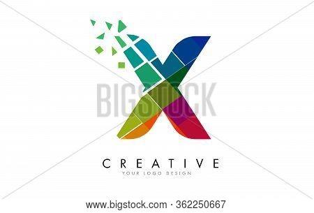 Letter X Design With Rainbow Shattered Blocks Vector Illustration. Pixel Art Of The X Letter Logo.
