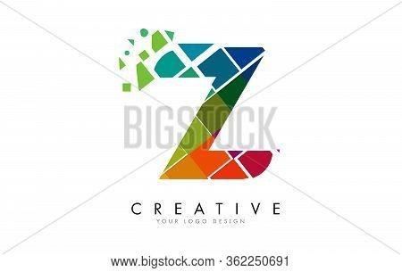 Letter Z Design With Rainbow Shattered Blocks Vector Illustration. Pixel Art Of The Z Letter Logo.