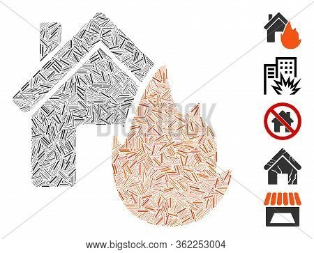 Linear Mosaic House Fire Disaster Icon Organized From Thin Items In Different Sizes And Color Hues.