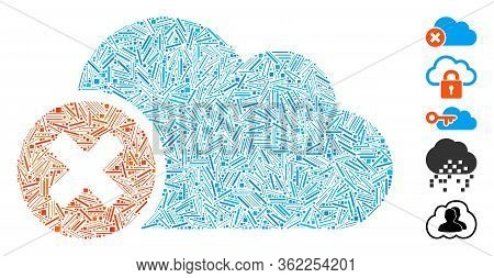 Line Mosaic Close Cloud Icon Composed Of Thin Elements In Various Sizes And Color Hues. Vector Hatch